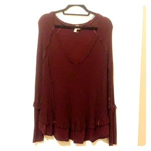 Free People We The Free Slouchy Tunic - Maroon